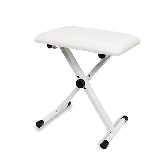 LXLAMP Piano Bench Banco for Teclado,3 Alturas Ajustables de ,Plegable, Patas con Cubierta de Goma, Altura Ajustable: 42-47-52cm Banco de Piano Banco de Teclado (Color : White)