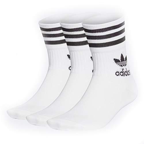adidas MID Cut CRW SCK Socks, White/Black, L