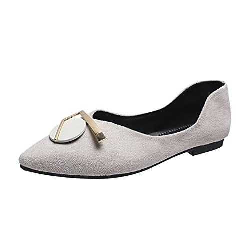 JMMSlmax Women's Comfort Soft Slip On Flats Casual Pointed Toe Ballet Loafer Ladies Low Party Dress Shoes