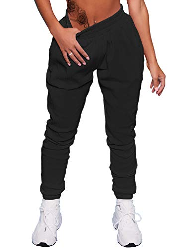 GOKATOSAU Women's Sexy Casual Bodycon Stretch Jogger Workout Sweatpants with Pockets Black