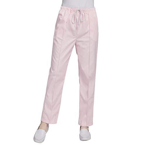Bverionant Pantalones Sanitarios Unisex Cintura Elástica, Pantalones de Trabajo para Médicos Enfermeras, Transpirable y Cómodo