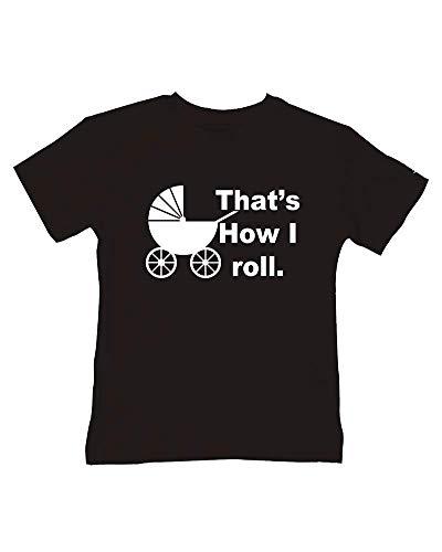 Ice-Tees T-shirt humoristique en coton doux pour enfant Motif It's How I Roll - Noir - 2-3 ans