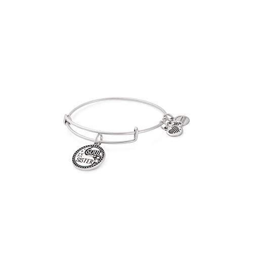 Alex and Ani Soul Sister Expandable Bangle Bracelet for Women, Friendship Inscription Charm, Rafaelian Silver Finish, 2 to 3.5 in