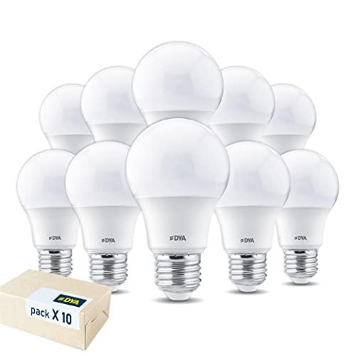 SET di 10 LAMPADINE LED DYA GOCCIA A60, Attacco E27 - LUCE CALDA 3000K, 10W Equivalenti a 70W
