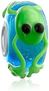 Verde rana Murano lámpara de cristal 925 plata esterlina núcleo espaciador se adapta a la pulsera de encanto europeo para las mujeres para adolescentes