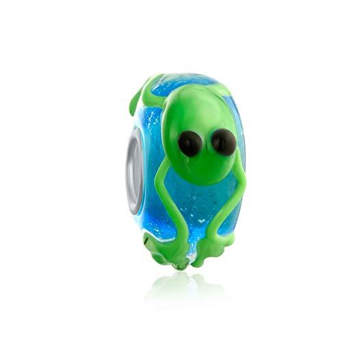 Grün Frog Murano Glas Sterling Silber Spacer Bead Charm Passend Für Europäische Charm Armbänd Für Damen Jugendlich