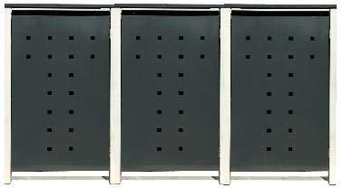 3 Tailor Mülltonnenboxen Basic Duo für 120 Liter Tonne/Stanzung 7 / Farbe RAL 7016 Anthrazit/Rahmen RAL 9006 hell Grau/Verschönern Sie Ihre unansehnliche Mülltonnen in Ihrem Hof und Garten!
