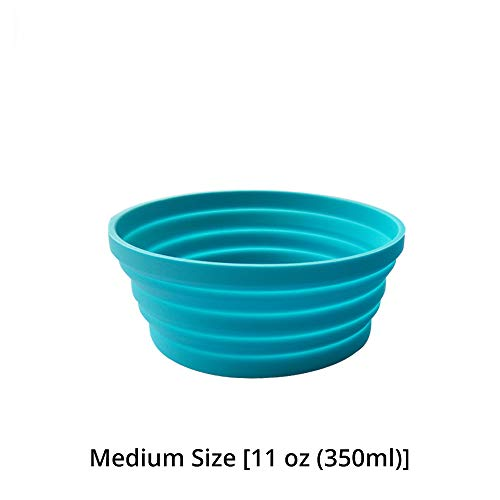Silicone Expandable Collapsible Bowl for Travel Camping Hiking, Blue (1 Pack)