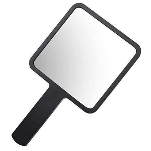 YoungRich Mini Espejo con Mango Espejo de Maquillaje para Peluquería Profesional Salón Uso Doméstico 9 × 16 cm Negro