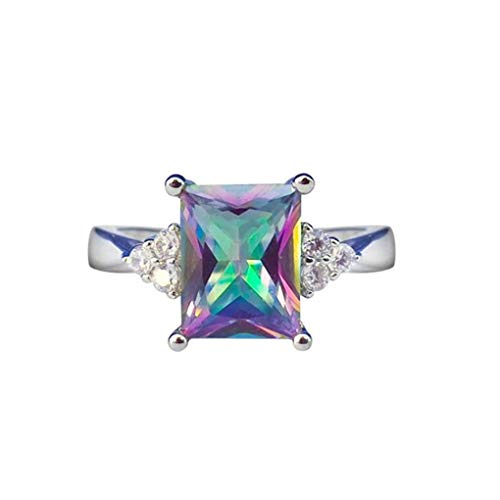 iLH Clearance Rings,ZYooh Women Princess Cut Mystic Rainbow Rings Engagement Diamond Rings Jewelry Gift (Rainbow, 8)