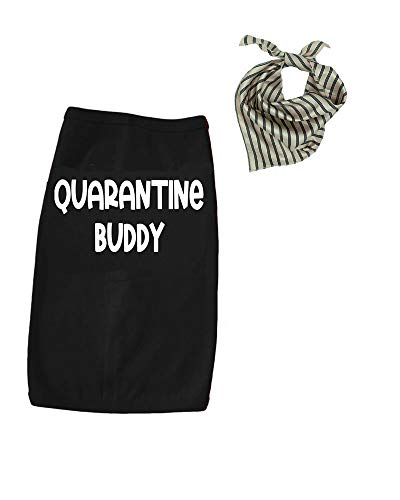 Quarantine Buddy Dog Tshirt, Funny Dog Outfit, Gift Set (Small, Black)