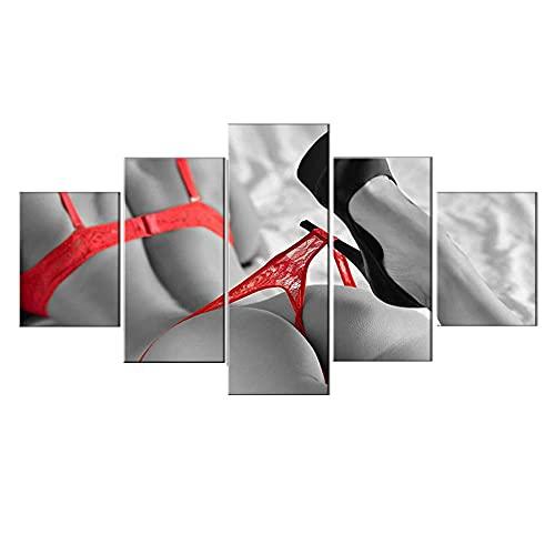 MINCOCO 5 Pezzi di Stampe su Tela in Bianco e Nero Donna con Tacchi Alti Rossi Scarpe da Parete Modello di Arte Ragazza Quadri da Interni Immagine Poster Sexy, Framed 40X60 40X80 40X100cm