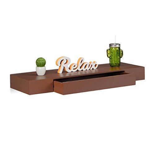 Relaxdays 10021906_93 Mensola da Parete con Cassetto, Design, Profondità 25 cm, per Soggiorno, Cameretta, Marrone