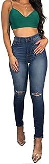 Jeans skinny strappati, donne strappati e fori strappati e stretch high waised denim culo tiro su usura in difficoltà