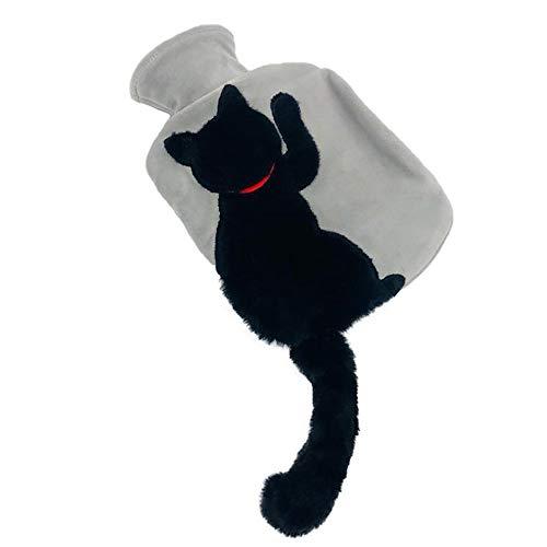 YHNJI Botella de agua caliente con cubierta de felpa, botella de agua...