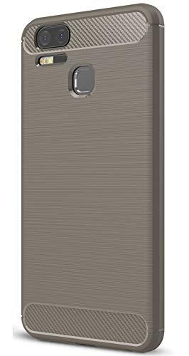 XINFENGDI Asus Zenfone 3 Zoom ZE553KL Hülle, Tasche mit Stoßdämpfung Robuste TPU Stylisch Karbon Design Handyhülle Hülle Hülle für Asus Zenfone 3 Zoom ZE553KL - Grau