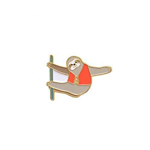 SFFSMD Cartoon-Brosche Kollektion Kaktusbaum Toast Alpaka Katze in Box Alpaka Toast Corgi Pins Abzeichen Emaille Pins Anstecknadel für Damen Herren (Metallfarbe: Faultier)