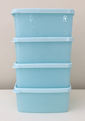 Tupperware Freeze-It Set of 4 - 1.5 Cup Small Containers With Baby Blue Seals