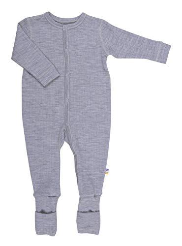 Joha Baby Unisex Schlafoverall aus Reiner Merino-Wolle, Größe:86-92, Farbe:grau Melange