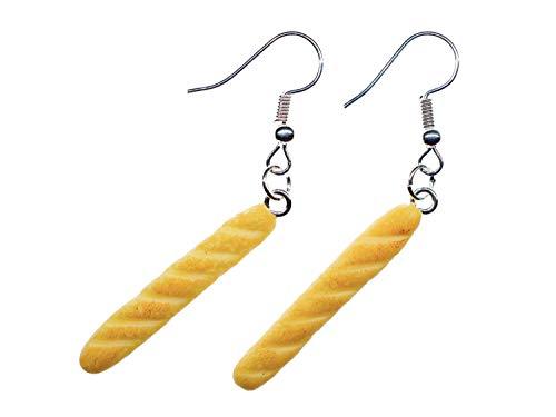 Miniblings Baguette Ohrringe Frankreich Hänger Brötchen Brot Frühstück Paris - Handmade Modeschmuck I Ohrhänger Ohrschmuck versilbert