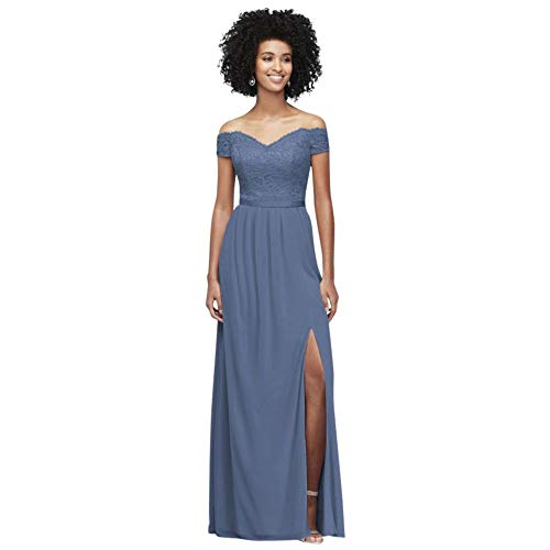 Off-The-Shoulder Lace and Mesh Bridesmaid Dress Style F19950, Steel Blue, 6