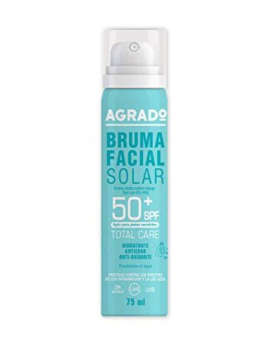 Bruma Seca Solar Facial Protector Solar Hidratante 50+ SPF Protección UVA UVB Infrarrojos en Spray Resistente al agua Invisible 75 ml - Agrado