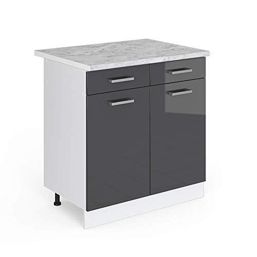 Vicco Küchenschrank R-Line Hängeschrank Unterschrank Küchenzeile Küchenunterschrank Arbeitsplatte  Möbel verfügbar in 6 Dekoren (anthrazit mit Arbeitsplatte  Schubunterschrank 80 cm)   Küche und Esszimmer > Küchen > Miniküchen   Vicco