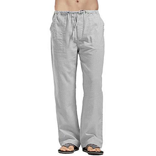 Pantalones Casuales de Lino para Hombre Cintura Alta Elástico Pantalones Deportivo con Cordón y Bolsillos Moda Color Sólido Pantalones Largos para Deportivo Fitness Gym Workout