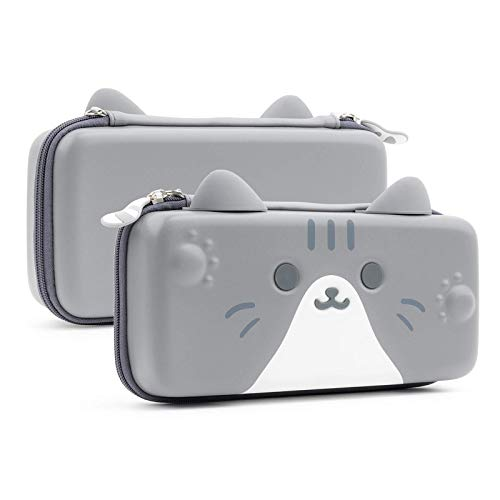 GeekShare Cat Ears Carry Case for Nintendo Switch - Portable Hardshell Slim Travel Carrying Case fit Switch Console & Game Accessories - A Removable Wrist Strap (Gray [Video Game]
