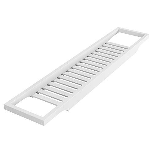Homfa Bambus Badewannenablage Badewannenbrett Badewannenauflage Badewannentisch Holz Wannenaufsatz als Badewannentablett 74 x 15 x 3,7 cm (Weiß)