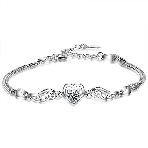 WLLLTY Pulsera para Mujer de Plata de Ley 925, Doble Capa, Caja Ajustable, Pulsera y Pulsera con dijes de Cristal, joyería de Boda para Mujer