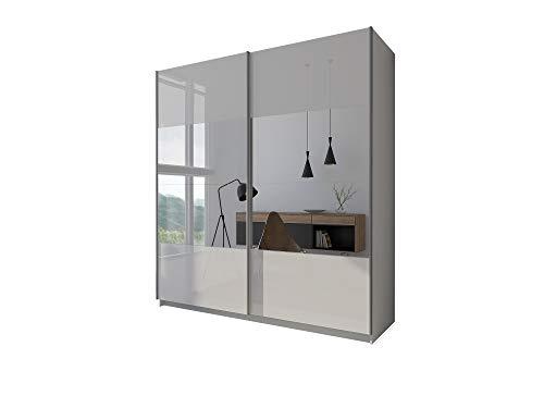 LUK Furniture LINA II - Armadio con specchio e ante scorrevoli, set completo, bianco lucido