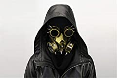 Resin + Metal material. Elastic closure, one size fits most people. The newest gas goggles skull mask, crazy style. Gothic fashion punk glasses use to stage performance, cosplay party game, ect. Wearing this gorgeous mask will give a stunning and las...