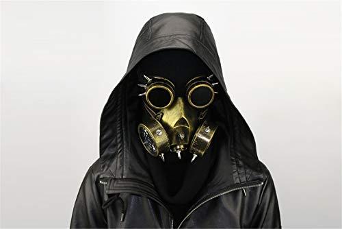 Ulalaza Steampunk-Gasmaske / Schutzbrille, Verkleidung, Retro, Gothic, Punk, Zombie, Soldaten, Totenkopf, Maske für Halloween, Cosplay, Requisiten, gold, Einheitsgröße