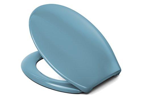 Cedo WC Sitz Rainbow Beach, Farbe: Bermuda Blau mit Edelstahlscharnier und FastFix Schnellmontage - aus Duroplast für ovale Keramiken mit Befestigung von Unten
