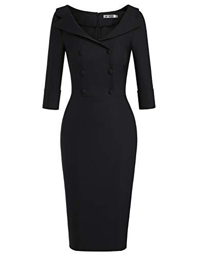 MUXXN Ladies Elegant Elbow Sleeves High Stretch Work Business Pencil Dress (Black L)