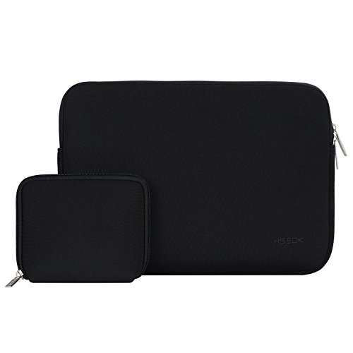 "Hseok Funda para Portátil 13-13.3 Pulgadas Laptop Sleeve / MacBook Air / MacBook Pro/ 12.9"" iPad Pro, Funda Blanda y Impermeable con Bolsita para Guardar Cargador y Ratón, Negro"
