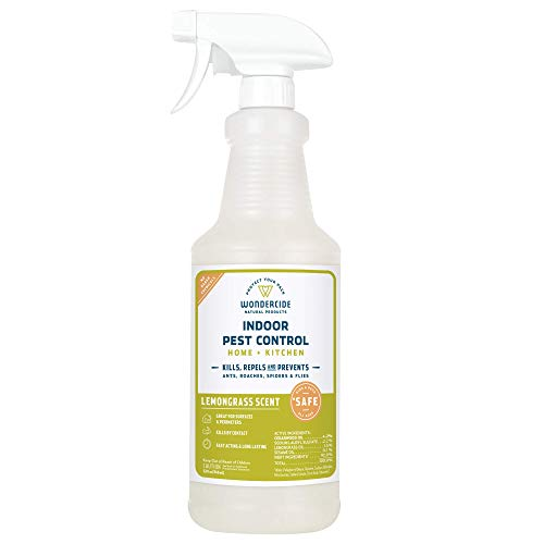 Wondercide Natural Indoor Pest Control Spray for Home and Kitchen — Fly, Ant, Spider, Roach, and Bug Killer and Repellent — 32 oz Lemongrass