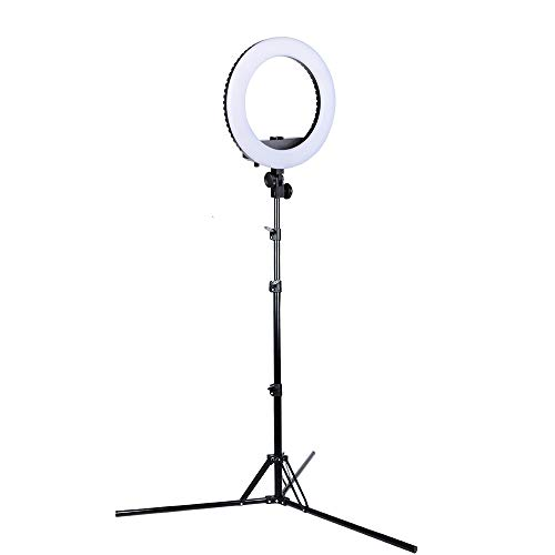HAKUTATZ® Ringlicht Dimmbare Led Ringleuchte mit Stativ Spiegl LED Ringlicht Kit für Video und Fotoaufnahmen Make-up, Live Stream (13 Zoll)