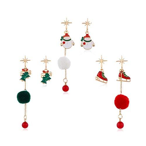 GANFANREN 3 Estilo Pendientes de Navidad Patines Rojos Blanco Muñeco de Nieve Verde Bell Asimetría Pendientes Colgantes Moda Mujer Chica Regalo de Navidad