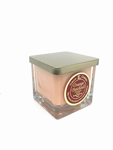 Circle E Orange Patchouli Scented Jar Candle | Size 8oz | 40 Hour Burn Time | 1 Wick | Wax Color Orange | Glass Jar | Made in USA
