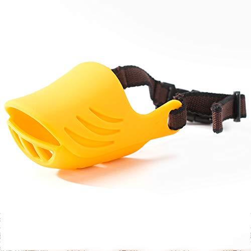 YZZR Bozal para Perros,Bozales para Perros Pequeños con Silicona Suave Bucle Ajustable Anti-ladrido Anti-mordedura(Pink,Blue,Brown,Yellow)
