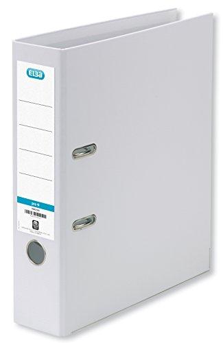 ELBA Kunststoff-Ordner smart Pro+ 8 cm breit DIN A4 weiß mit Einsteckrückenschild Ringordner Aktenordner Briefordner Büroordner Plastikordner