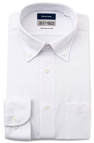 [アイシャツ] i-shirt 完全ノーアイロン ストレッチ 超速乾 レギュラーフィット 長袖 アイシャツ ワイシャツ メンズ ホワイト 無地 新レギュラーフィット 長袖ボタンダウン M15120003501 M80(首回り39cm×裄丈80cm)