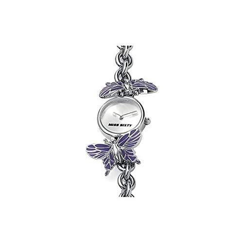 Miss Sixty WM2J6002 Orologio da donna analogico al quarzo con bracciale in acciaio, ciondolo a farfalla smaltata e chiusura a scatto regolabile, bianco