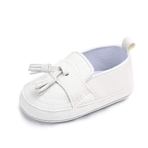 Csfry Infant Toddler Baby Boys Soft Moccasinss Crib Shoes White