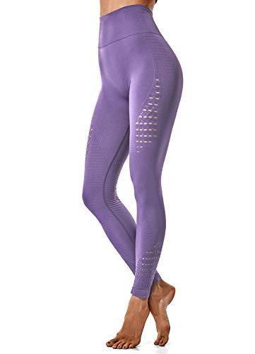 INSTINNCT Damen Yoga Lange Leggings Slim Fit Fitnesshose Sporthosen #2 Energie Stil - Lila2 S