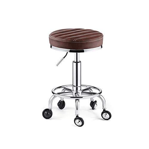 WANGXN Kruk met wielen Verstelbare Hoogte met Swivel Hydraulic Gas Lift Ronde Salon Massage Stoel