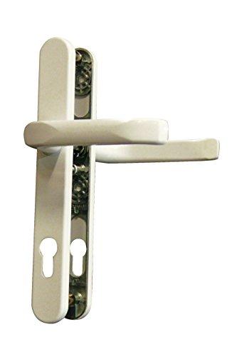 Alpertec 40315700 Schmalrahmengarnitur Schutzbeschlag Schildgarnitur Wechselgarnitur 92 mm, Vierkant 8 mm Drücker Weiss