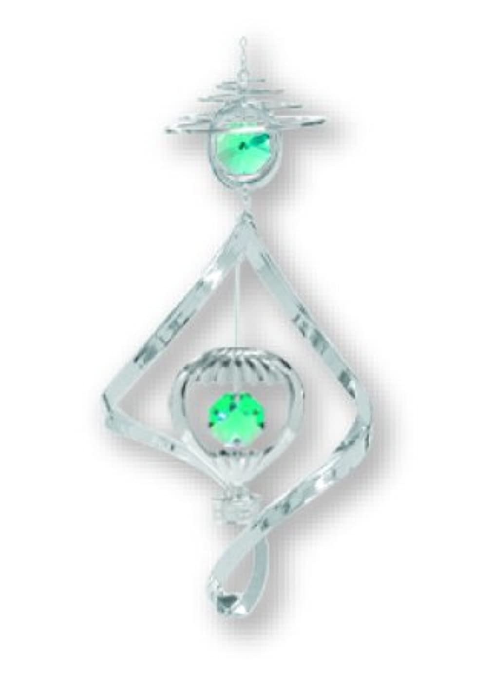 Chrome Plated Hot Air Balloon Wind Chime with Green Swarovski Element Crystals